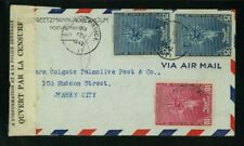 Haiti 1942 Censored Airmail Port au Prince to Nj franked Scott 338, 339