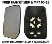 FRONT DOOR WING MIRROR GLASS FORD TRANSIT MK6 MK7 2000-2014 PASSENGER LEFT SIDE