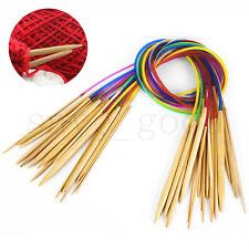 18 Pcs Set Smooth Bamboo Circular Knitting Needles Double Pointed 2.0mm-10mm