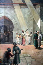 *RARE* Antique Arab Painting by Rubin Lamb of Women being Sold into Slavery