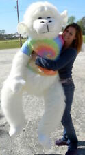 American Made Giant Stuffed White Gorilla 6 Foot Soft With RainbowTie Dye Shirt
