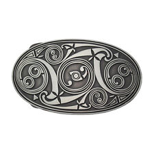 Silver Black New Zealand Maori Native Art Tribal Womens Mens Belt Buckle NEW