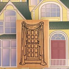 Window Curtains w/Scarf Valance Swag Wood Mounted Rubber Stamp House Home Scene