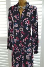 ~ MONSOON ~ Gorgeous Navy Blue Floral Shirt Dress Size 12