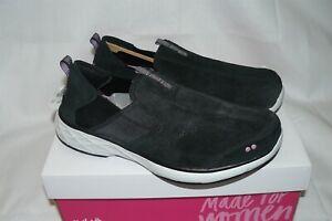 Ryka Womens Terrie Slip On Athletic Tennis Shoes Sneaker Black Suede Size 9W NIB