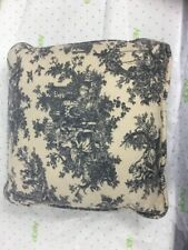 French Toile Sofa Throw pillow cream and black 12 inches Square