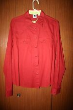 women western equestrian riding shirt Rockies rust red pearl snaps xxl cotton