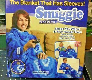 Snuggie Tie Dye Blue Original TV Blanket Sleeves w/ POCKETS fleece Adult 1-Size