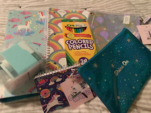 BTS Unicorn Binder Notebook Pencil Pouch School Supply Lot 7 Pc Home School