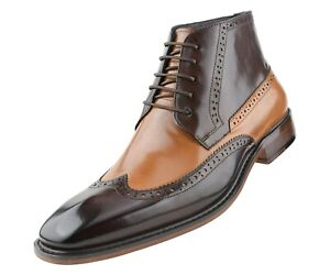 Mens Genuine Leather Dress Boots, Work Boots for Men, Fashion Wingtip Boots