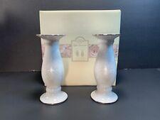 LENOX Opal Innocence Gold-Trim Porcelain Candleholder Set (New in Box)