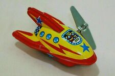 """Vintage Tin Toy New Sanko 3"""" Wind Up Auto Turn Yellow Space Rocket Made in Japan"""
