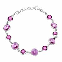 Crystaluxe Bracelet with Purple Swarovski Crystals in Sterling Silver