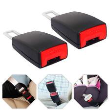 2× Black Auto Car Safety Seat Belt Buckle Extension Alarm Extender Universal Set