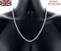 Stainless Steel Silver Curb Cuban Link Chain Unisex Necklace 50cm Long 5mm Wide