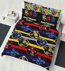 Power Rangers Double Duvet Cover Beast Morphers Design Mighty Kids Bedding Set