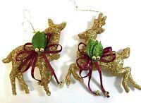 A Pair(2) of Glittering Gold Deer Christmas Tree Ornaments Reindeer Doe Buck