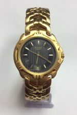 PULSAR Men's Gold Tone Stainless Steel Textured Dial Quartz WATCH V722-6120