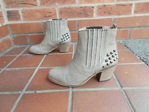 BERTIE Taupe Leather Studded Ankle Boots * sz 5 uk * FAB CONDITION