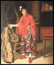 """* dama española con una guitarra, 24""""x20"""" pintura al óleo sobre lienzo"""