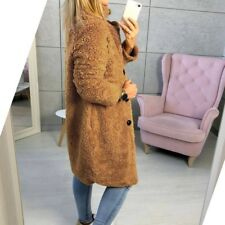 Winter Womens Teddy Bear Fleece Fur Fluffy Coat Jackets Jumper Outwear Size 8-14