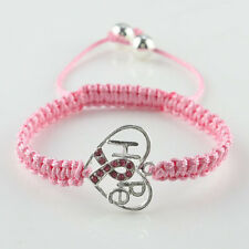 New Pink Czech Crystal Ribbon Breast Cancer Awareness Connector Macrame Bracelet