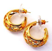 Round Filagree Round Hoop Earrings E150 Vintage Look 14K Gold Post