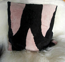 BEAUTIFUL SOFT PINK & BLACK  SHEEPSKIN CUSHION COVER - SOFT & WARM FOR WINTER!!
