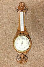 More details for very large vintage barometer combo, 85cm long, carved solid wood, free postage!