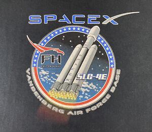 SpaceX Long Sleeve Shirt Adult XL Black Falcon Heavy SLC-4E Staff Tee Men's RARE