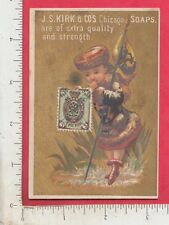 A823 J. S. Kirk Soap trade card Russian girl w/ flag & 3 kopek postage stamp