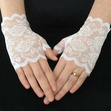 WHITE LACE Stretch Fingerless ROSE Design Wrist Gloves WEDDING  PROM