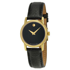 Movado Swiss Women's 2100006 'Museum' Black Leather Strap Gold Watch