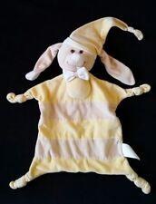 Doudou plat CHIEN rayé jaune beige neud blanc KIMBALOO (état neuf)