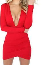 Sexy red backless deep V club/party dress size large.
