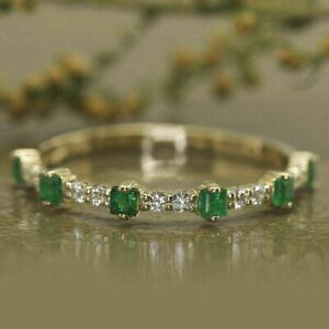 1.50Ct Emerald Cut Emerald & Diamond Wedding Band Ring 14K White Gold Finish
