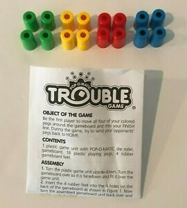 Trouble Board Game 2002 Replacement Parts Pieces Pegs Instructions Choice