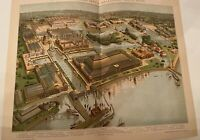 Rare Columbian Exposition 1893 Worlds Fair Hungarian Lithograph Aerial Map Print
