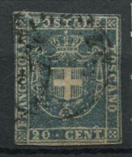 Toscana 1860 Sass. 20 b Usato 60% Firmato 20 c. azzurro grigio