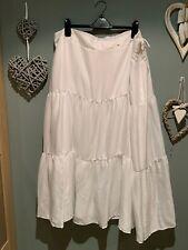 marks and spencer White Midi Gypsy Boho Style Skirt Size 26