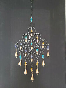 HANDMADE INDIAN IRON BELL DECORATIVE HANGING WITH BEADS