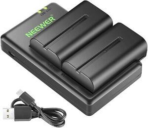 Neewer NP F550 Battery Charger Set for Sony 2-Pack Replacement  2600mAh