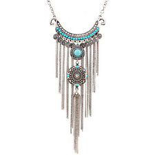 FT- Women's Boho Turquoise Long Tassels Pendant Necklace Alloy Choker Chain Prec