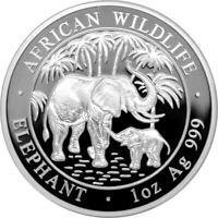 1 OZ Silber African Wildlife Polierte Platte Elefant Somalia 2007 Proof PP