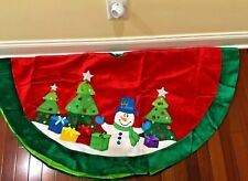 Kurt Adler Snowman and Trees Applique and Embroidered Tree skirt, 48-Inch