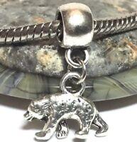 3D BEAR_Bead for silver European Chain Charm Bracelet_Black Brown Grizzly Animal