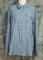 Duluth Trading Co Womens sz XL Blue Green Striped Long Sleeve Vented Hiking Top