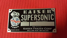 Kaiser Frazer Supersonic Engine Data Plate Acid Etched Aluminum