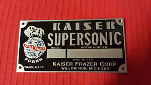 Kaiser Frazer Supersonic Engine Data Plate Acid Etched Aluminum