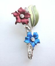 Flower Brooch Crystal Silver Plated Enamel Pin Mothers Day Gifts Free Shipping